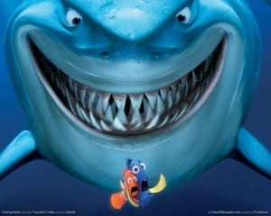 Dory and Marlin trying to escape the jaws of Bruce (Google Images)